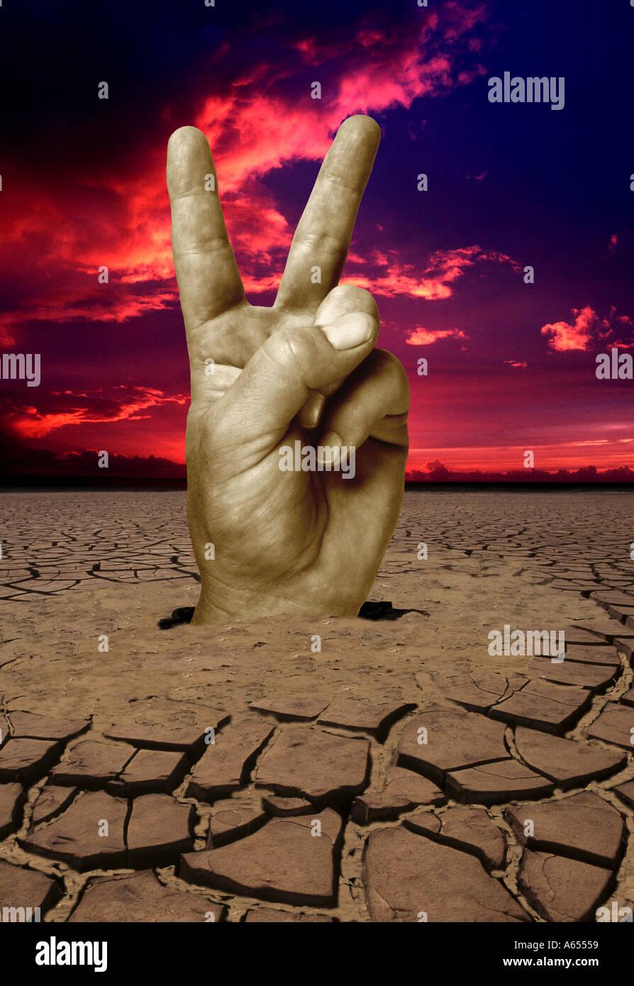 Hand V für Victory Zeichen abstrakten Konzept Spezialeffekte revolution Stockbild