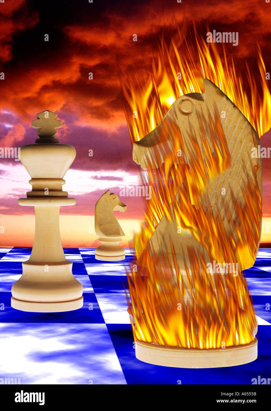 Riesiger Schach Spiel brennen Stück abstrakte Konzept Spezialeffekte Stockbild