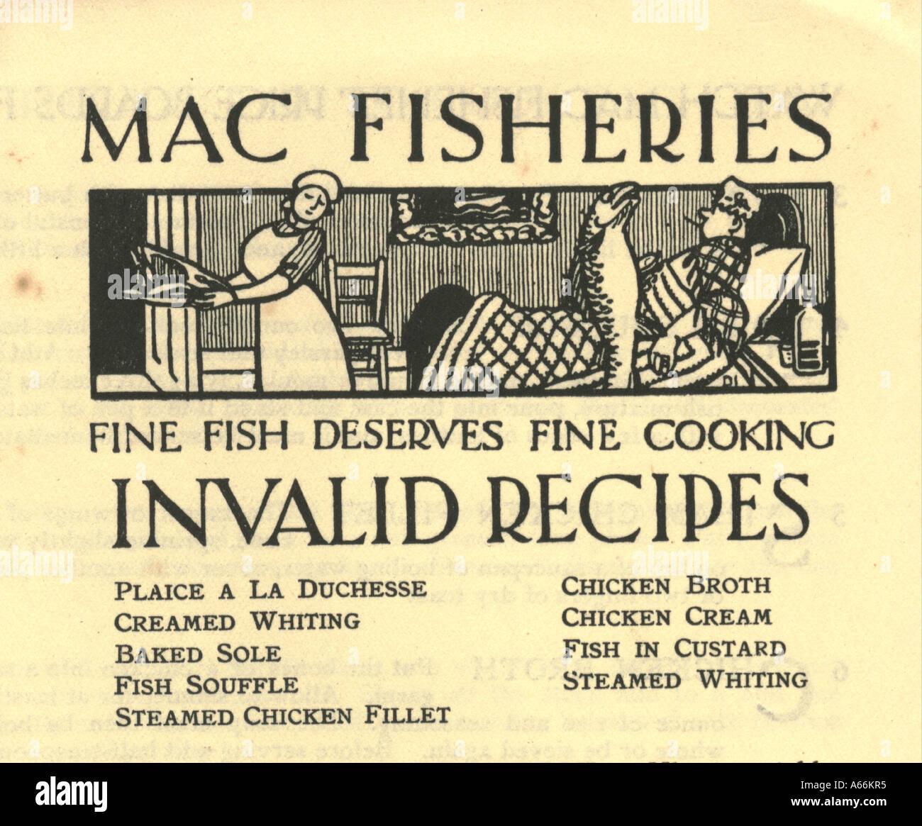 Mac Fischerei ungültige Rezepte Broschüre ca. 1920 Stockbild