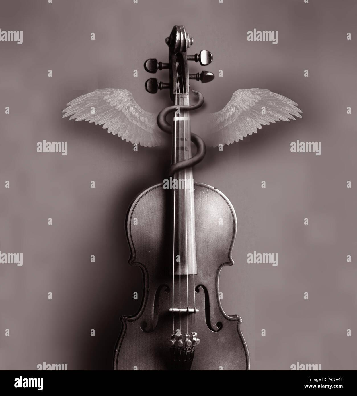 Abbildung-Musik und Medizin-Konzept-Violine und medizinischen symbol Stockbild