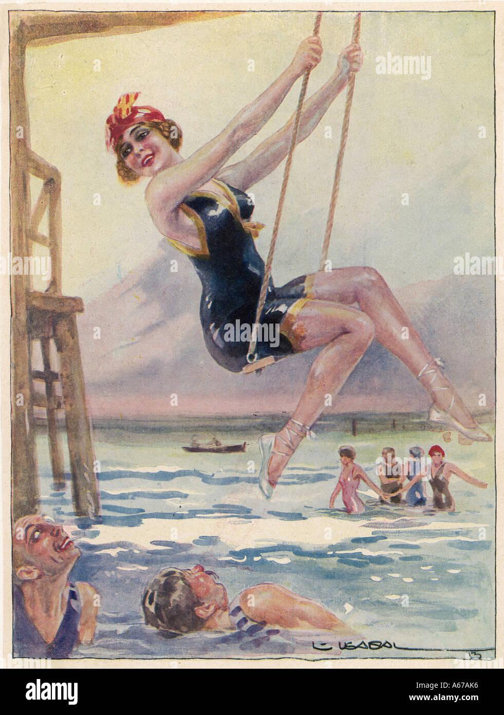 Schwingen am Meer Stockfoto