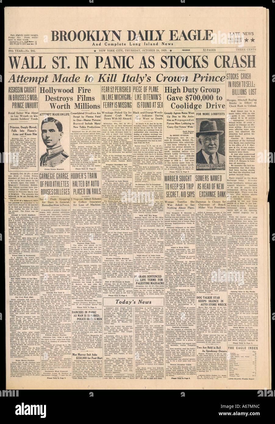 Wall Street Crash 1929 Stockfoto