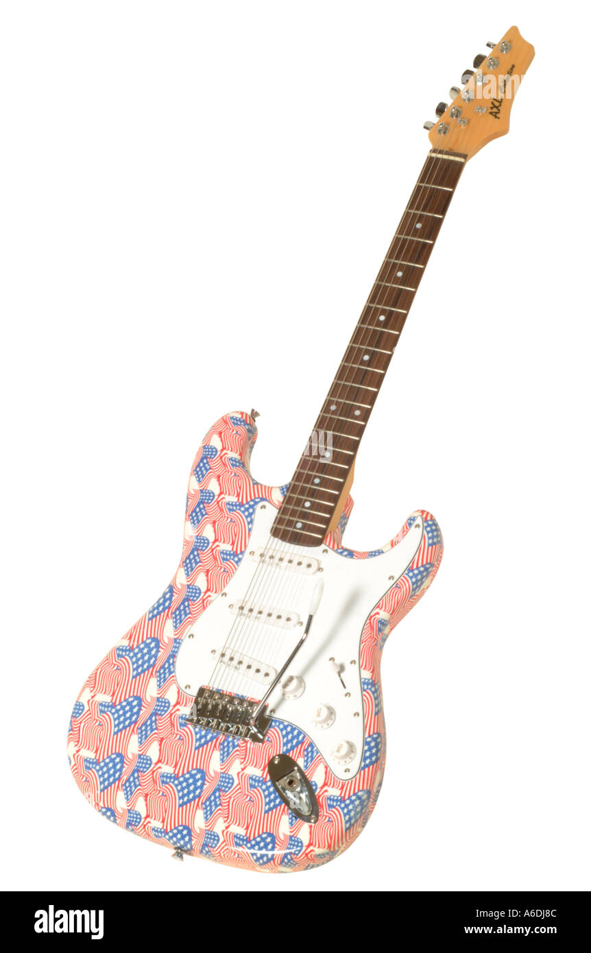 Axl Sammlung Grafik Gtrs Sterne und Streifen Guitarusa Flagge Studio Ausschnitt ausschneiden weißen Hintergrund Stockbild