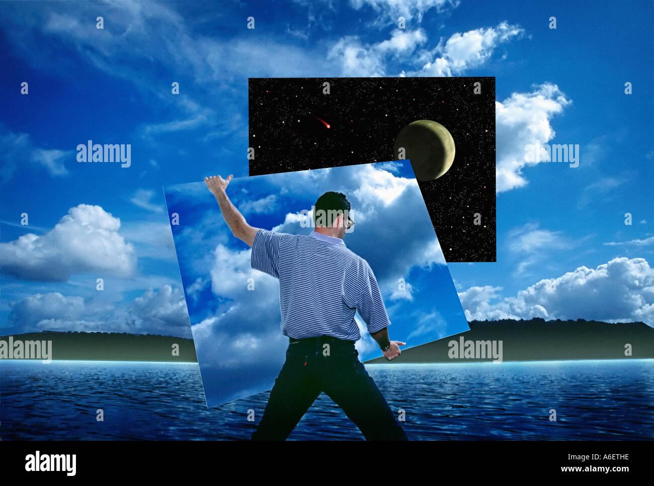 Digitale fotografische Illustration zeigt Person entfernen-Abschnitt der Taghimmel um den Nachthimmel zu offenbaren Stockbild