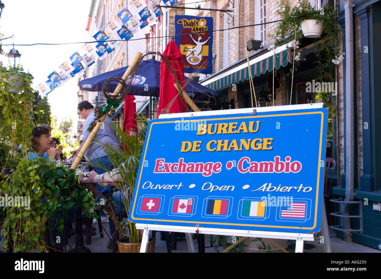 Quebec stadt quebec kanada dreisprachiges schild in französisch