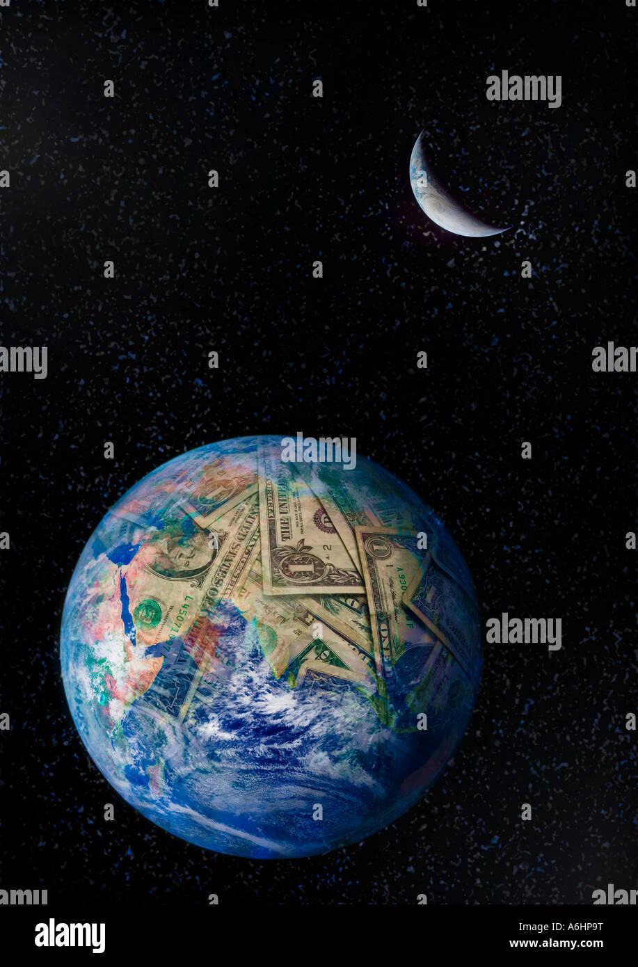 Geld-Erde Stockbild