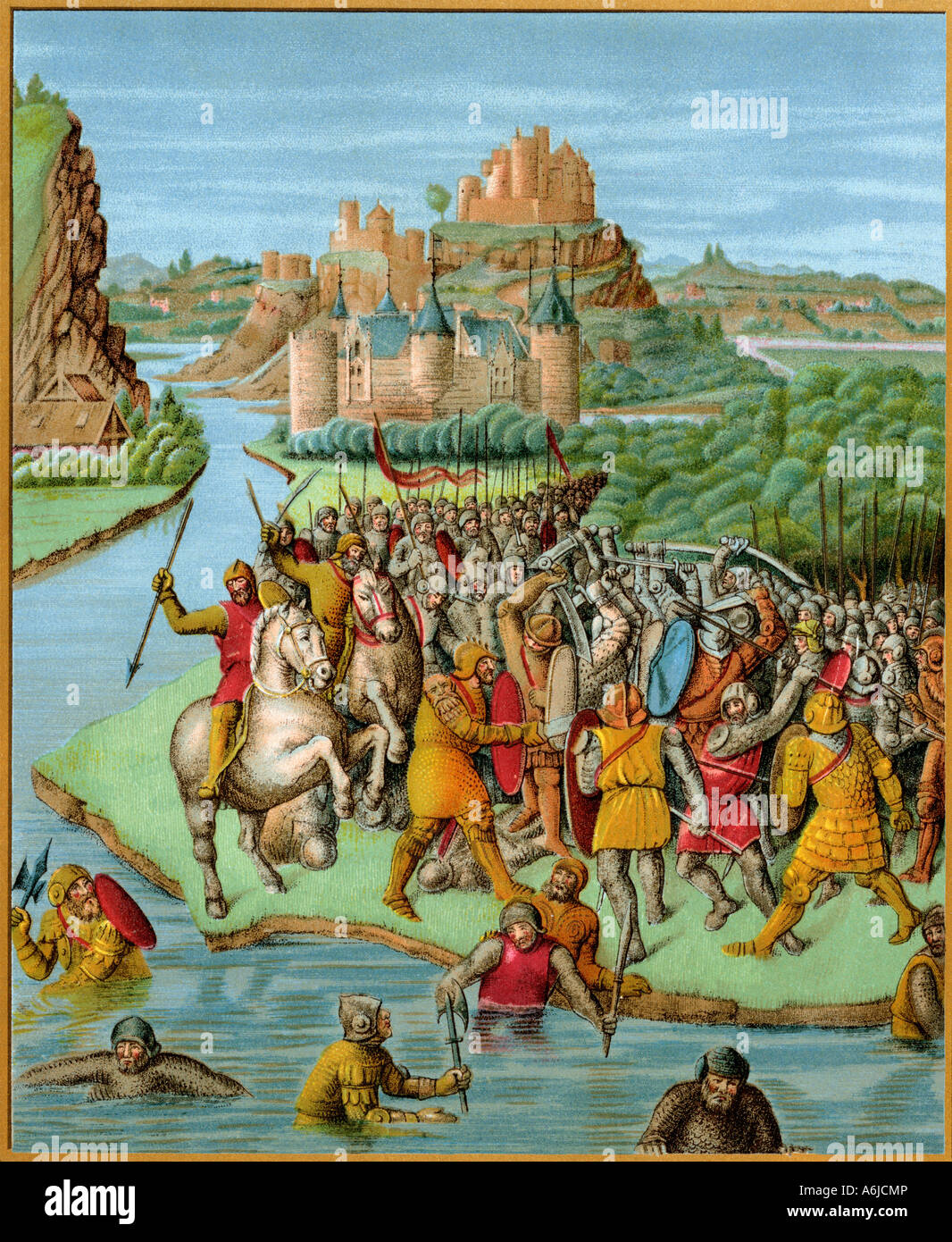 Jonathan kämpfen Baccide, aus einer französischen Übersetzung von josephus Geschichte der Juden 1400. Stockbild