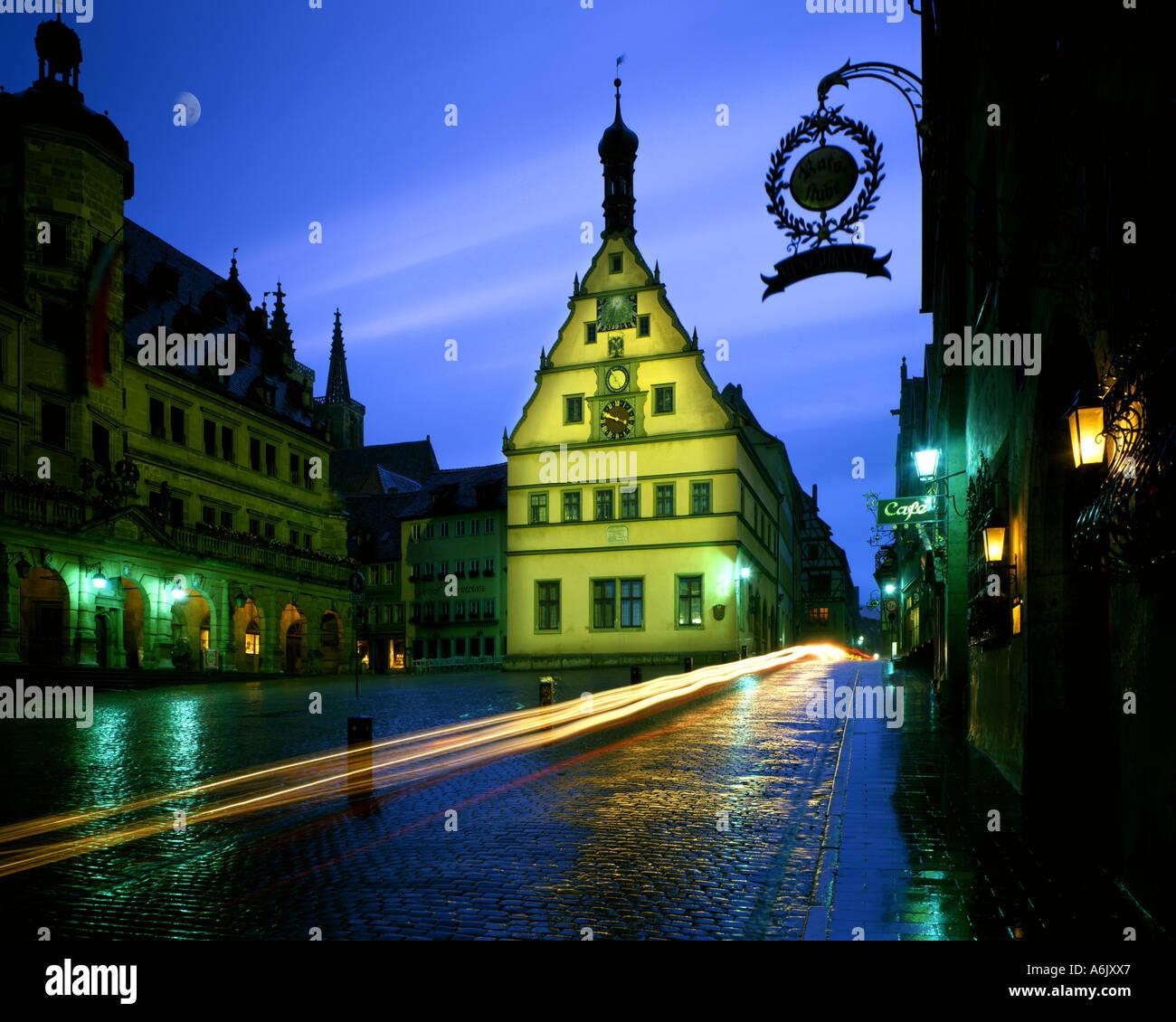 DE - Bayern: Das historische Rathaus in Rothenburg-Ob-der-Tauber Stockbild