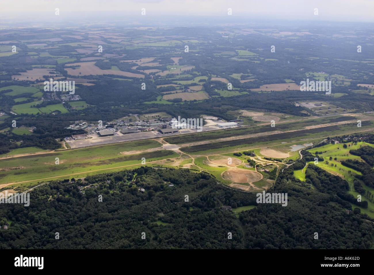 Luftaufnahme von Greenham Common-Flugplatz Stockbild
