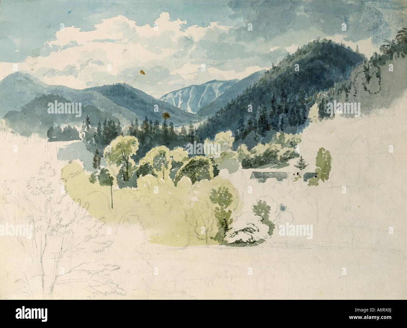 Bildende Kunst, Höger, Joseph (1801 ? 1877), Blick auf einem bayerischen Alpental im Frühjahr, Aquarell, Stockbild