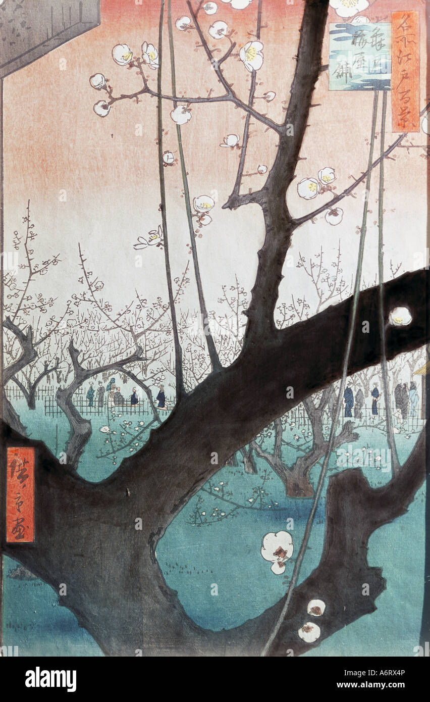 """Fine Arts, Hiroshige Utagawa (1797-1858), blühenden Pflaumenbaum im Garten Kameido"", Holzschnitt, Stockbild"