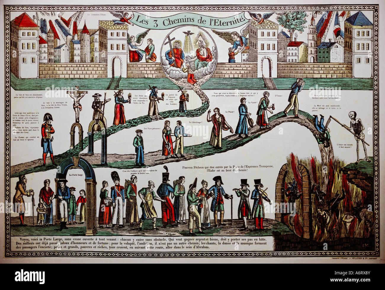 """Religion, Allegorie, """"Drei Weg zur Ewigkeit', Holzschnitt, Epinal, 1. Hälfte 19., Additional-Rights Stockbild"""