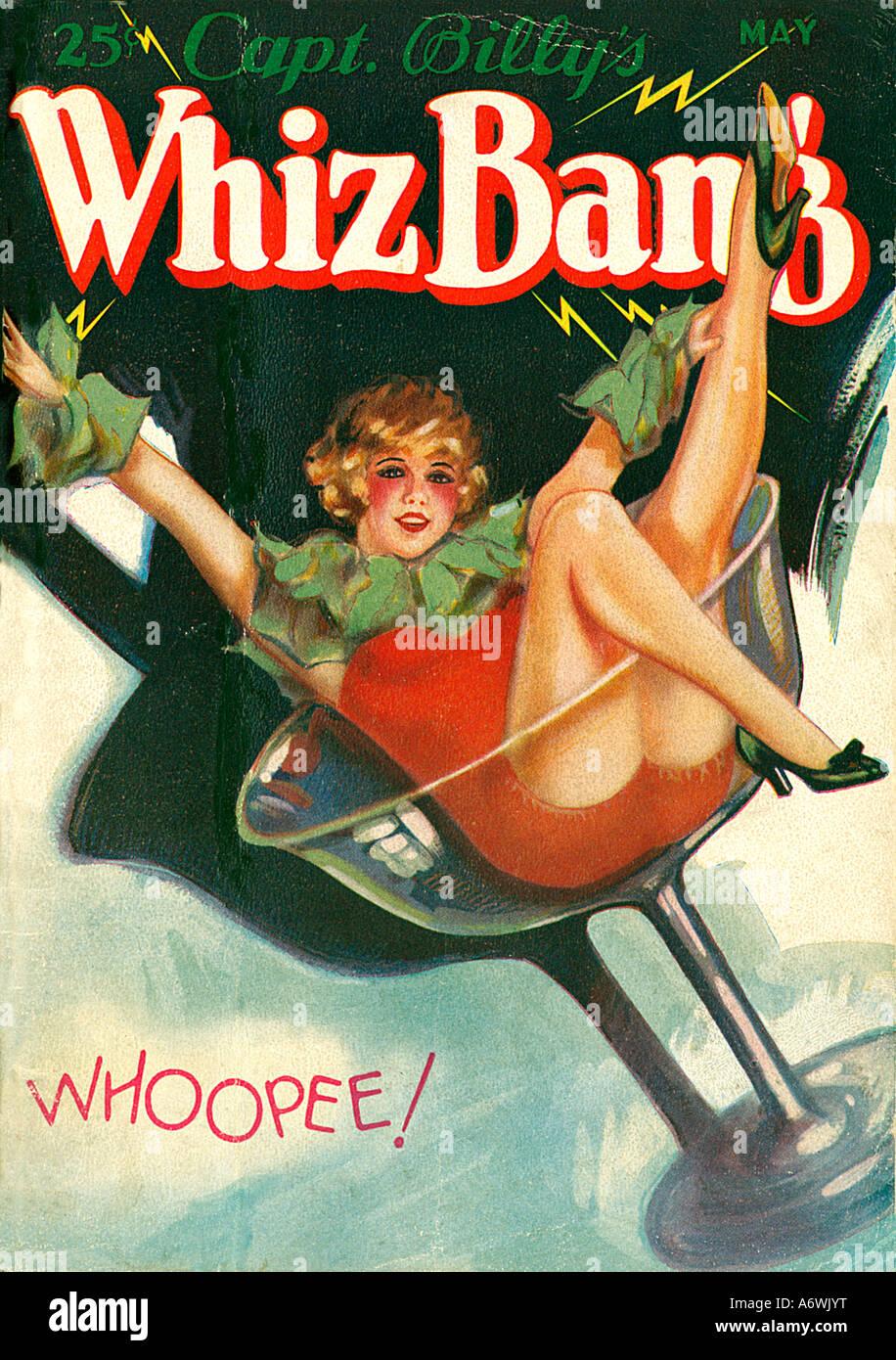 Whiz Bang 1929 amerikanischen populären Zeitschrift zeigt ein Mädchen feiern in einem Glas während Stockbild