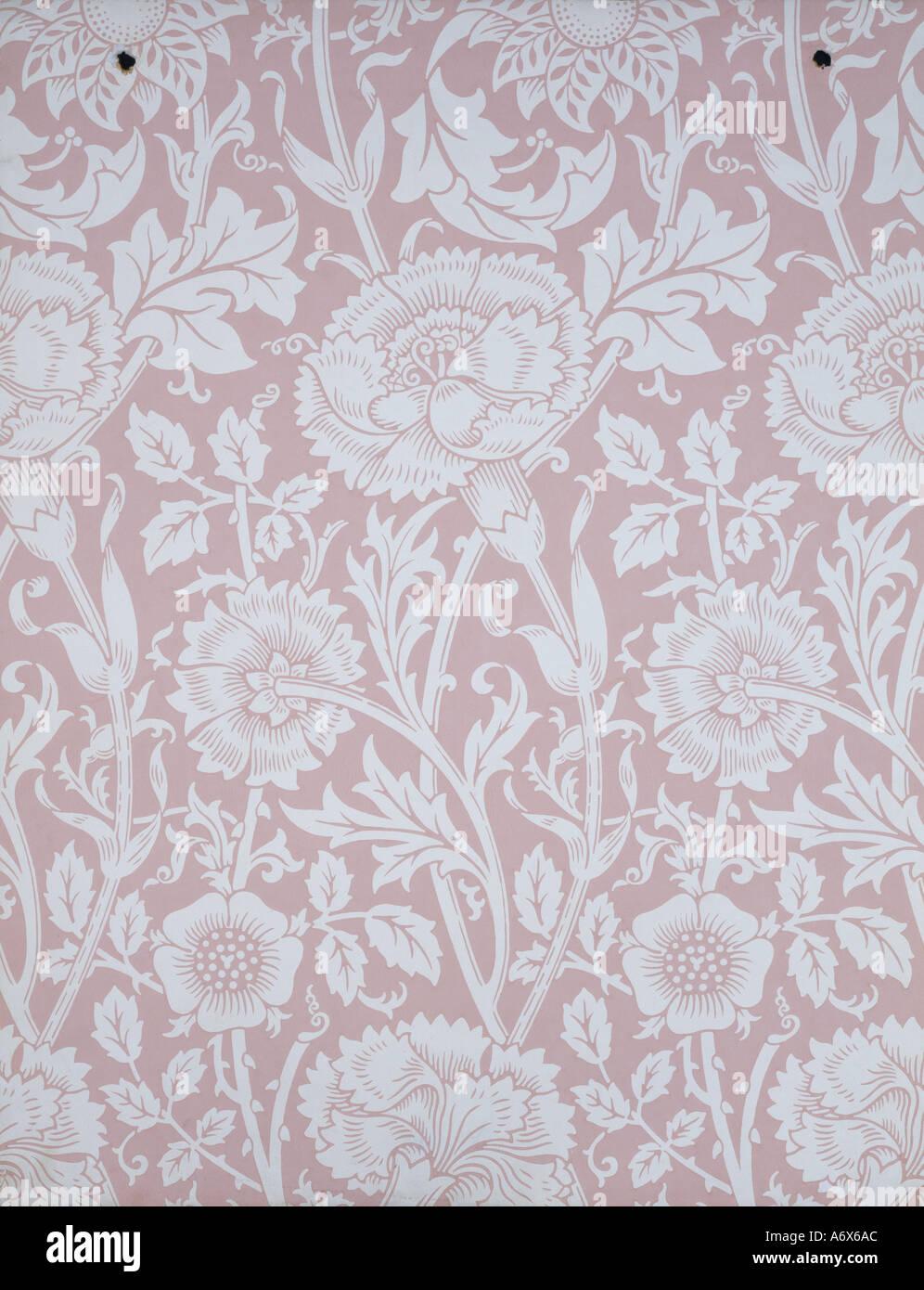 Rosa und Rose Wallpaper von William Morris. England, Ende des 19. Jahrhunderts. Stockbild