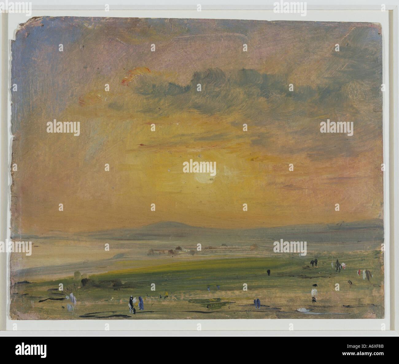 Shoreham Bay, abends Sonnenuntergang im Mai von John Constable. England, 1828. Stockbild