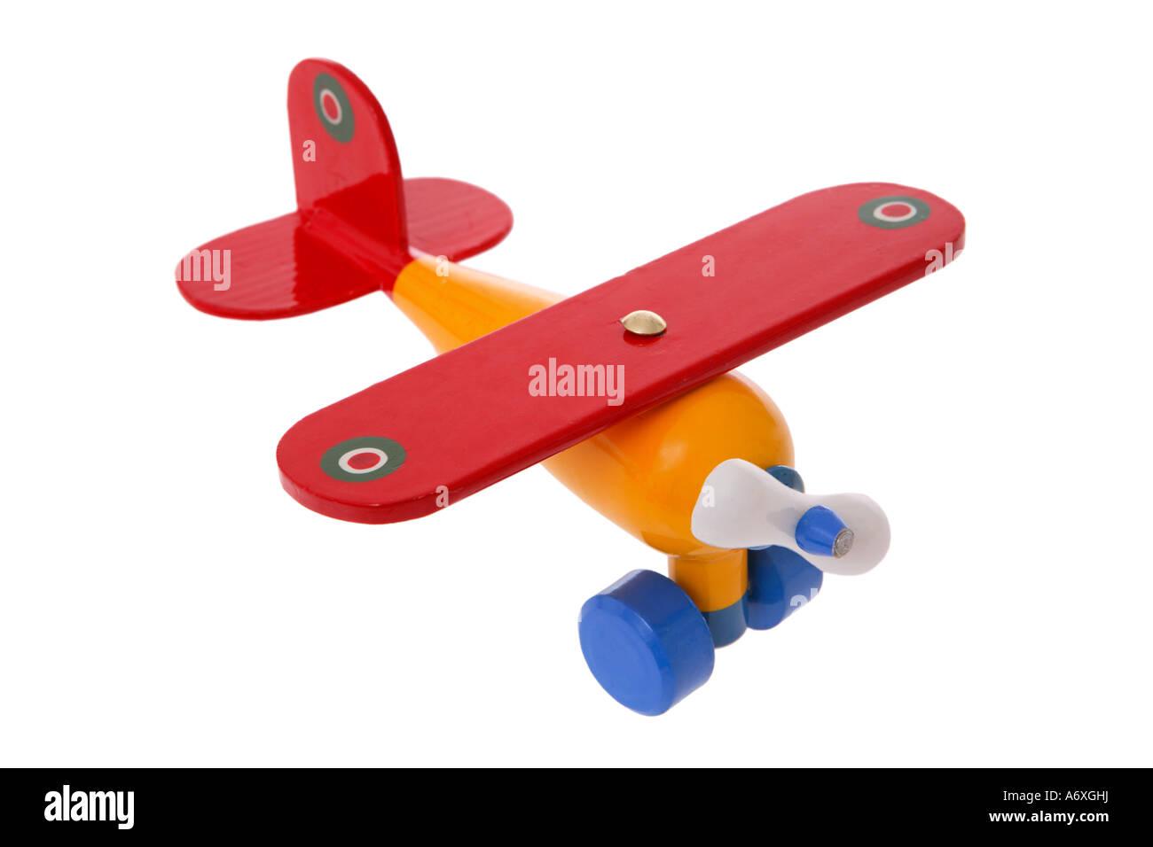 Spielzeugflugzeug ausgeschnitten auf weißem Hintergrund Stockbild