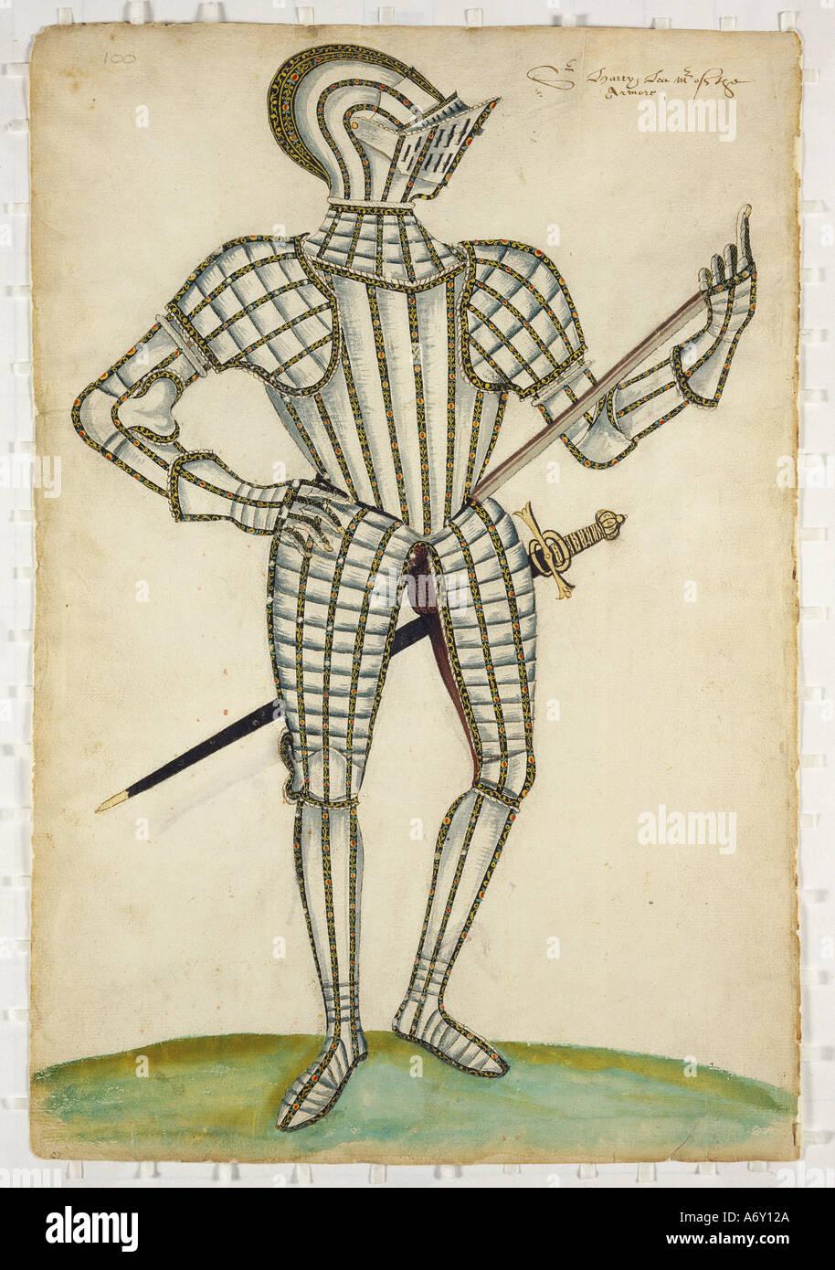 Klage der Rüstung und Details von Jacob Halder. England, Ende 16. - 17. Jahrhundert. Stockbild