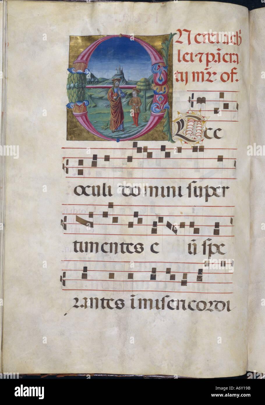 Beleuchtete Buchstaben O. Rotunde Probe. Mittelalterliche. Stockbild