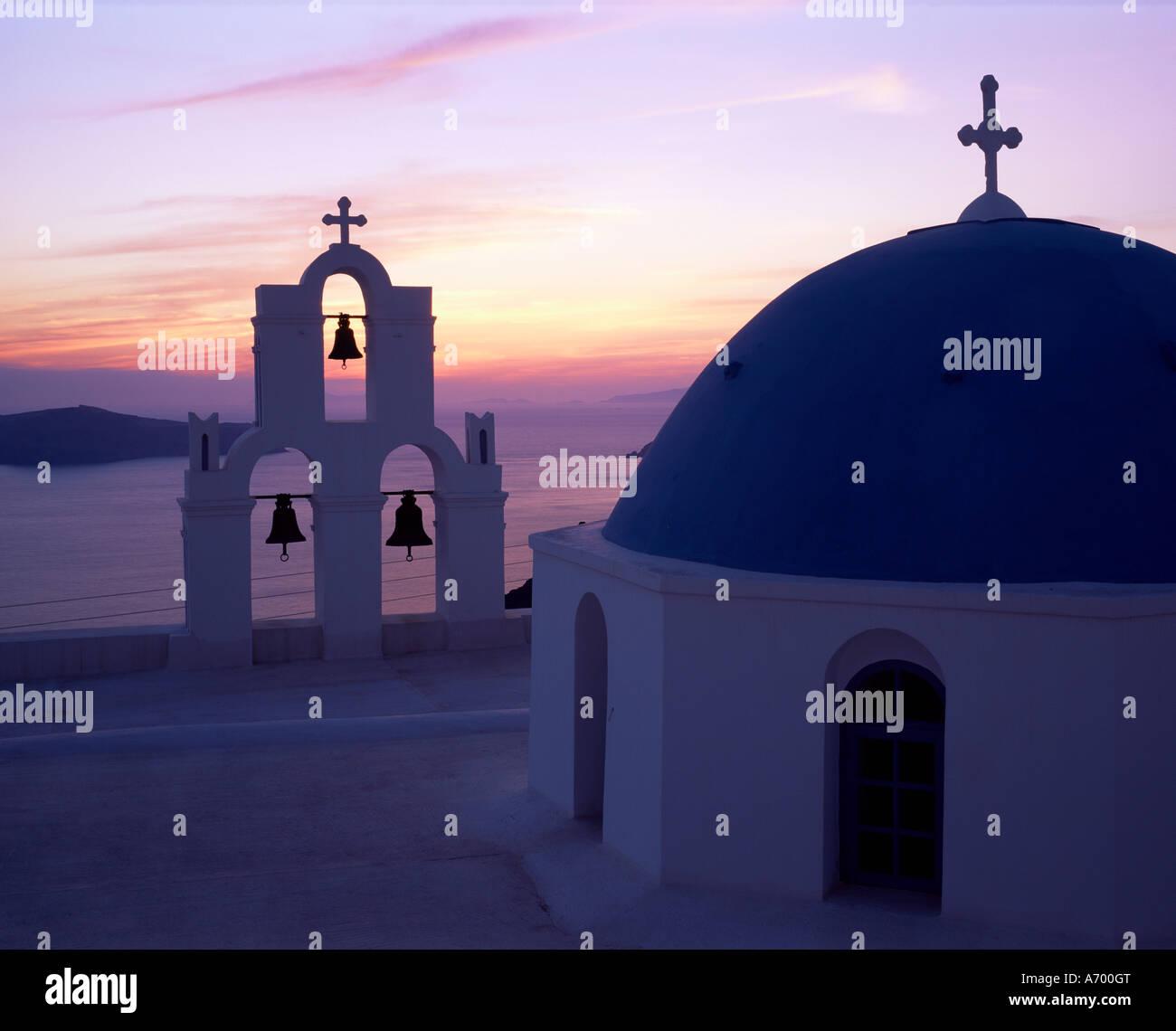 church bells thira fira santorini stockfotos church. Black Bedroom Furniture Sets. Home Design Ideas