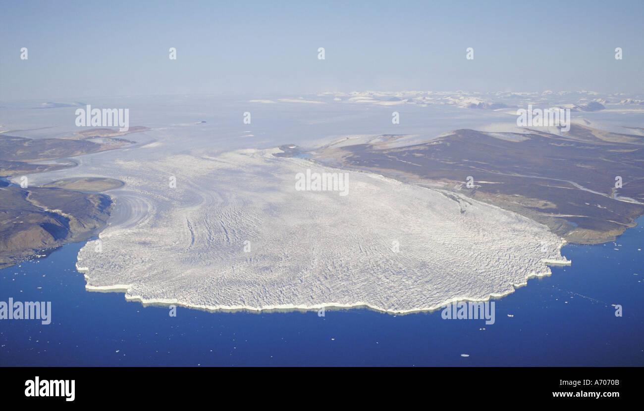 Pituffik Gletscher mündet in der Melville-Bucht Stockbild