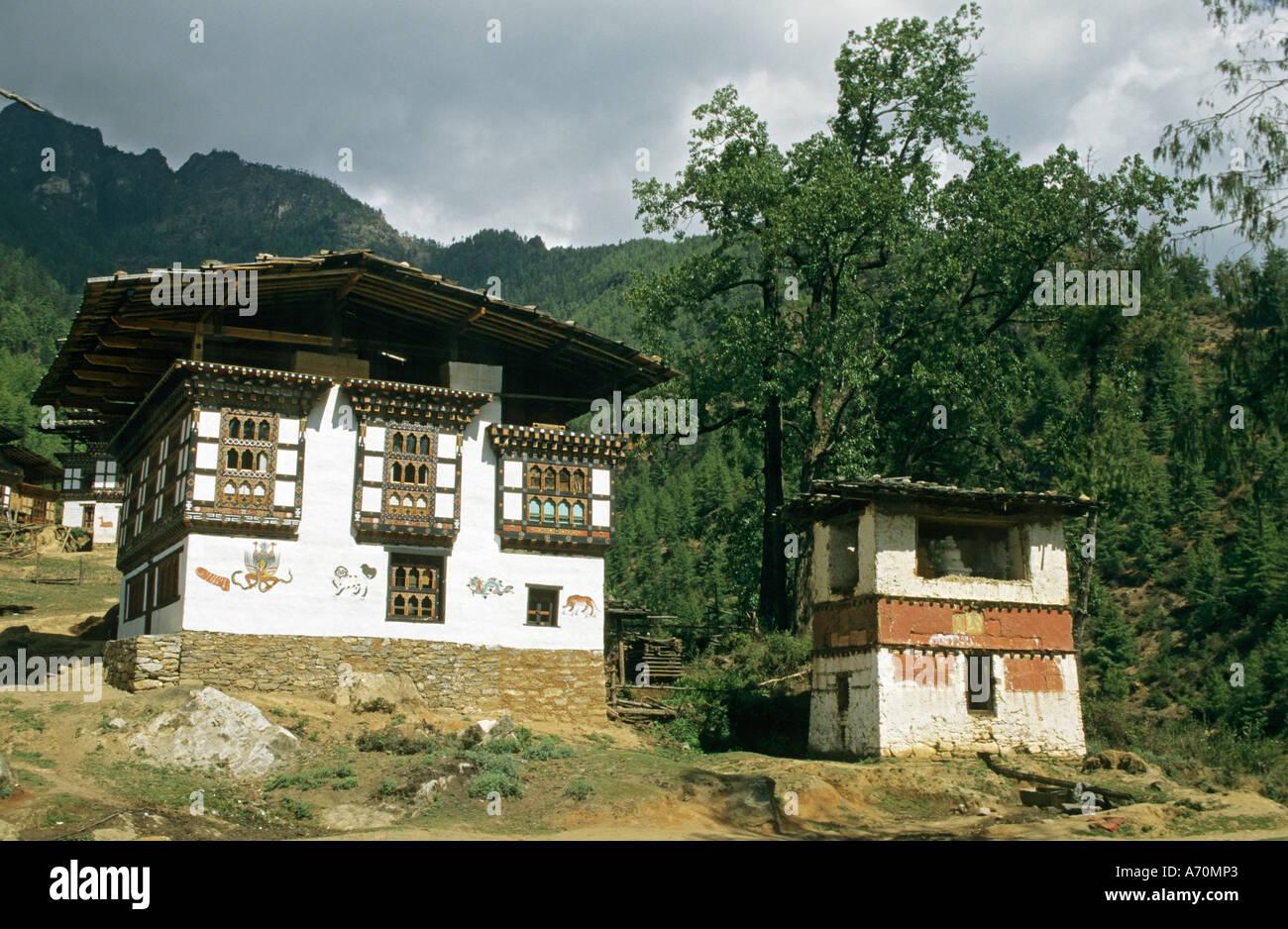 Rahmen-Häuser in buthan Stockfoto, Bild: 6677346 - Alamy