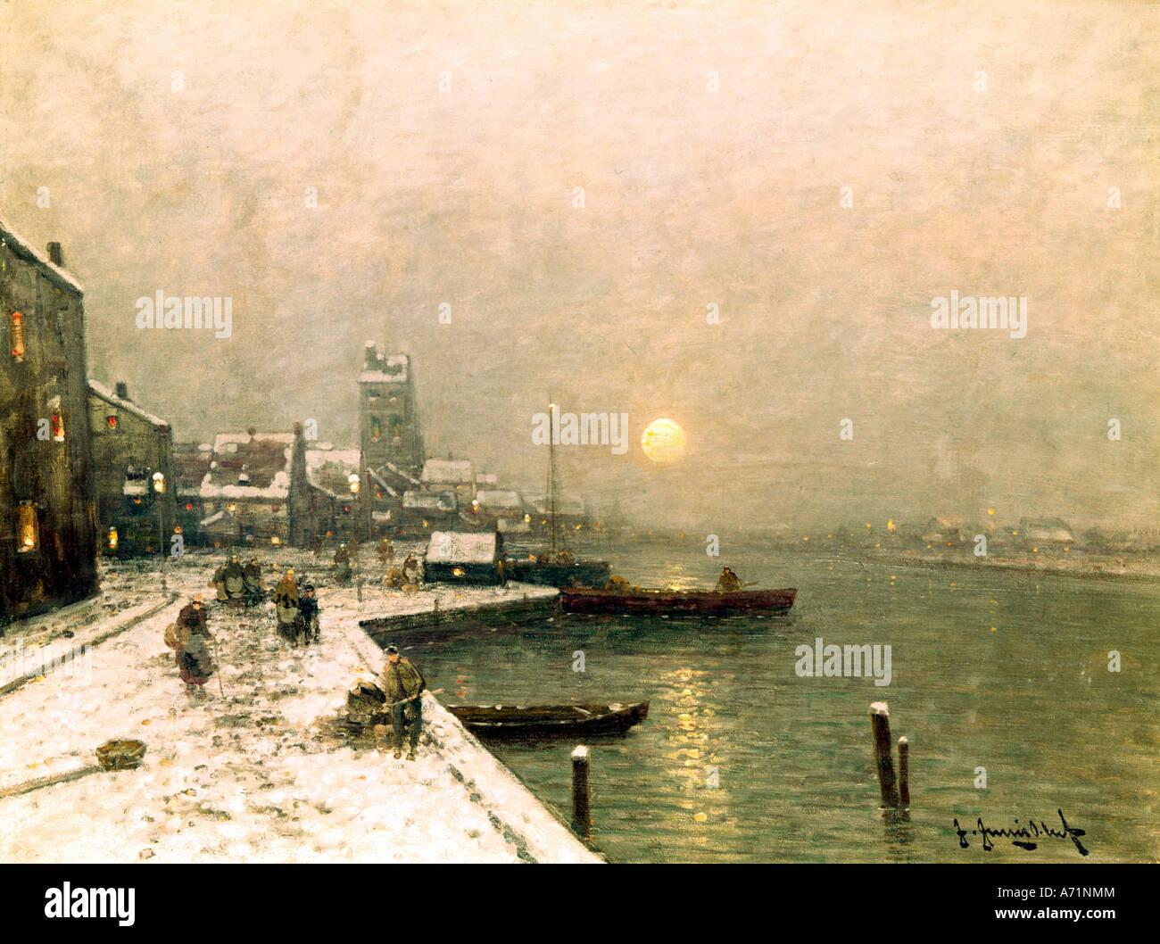 """""""Bildende Kunst, Jungblut, Johann, (1860-1912), Malerei,""""Winter in Düsseldorf"""", Galerie Wimmer, Stockbild"""
