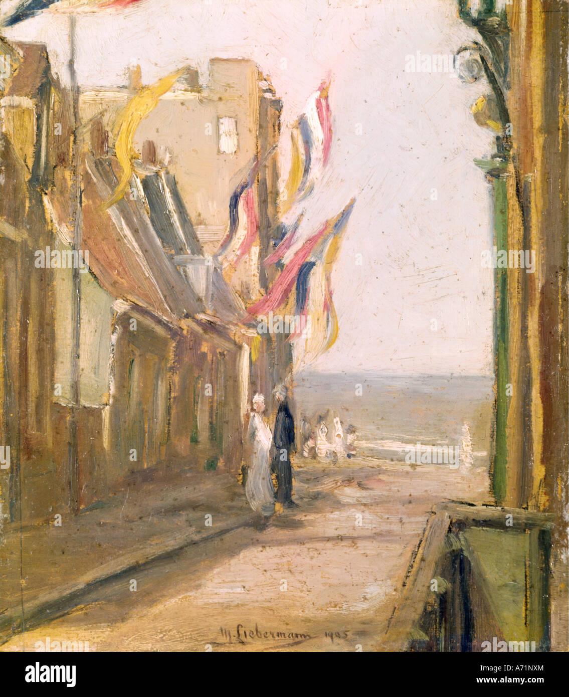 """Fine Arts, Liebermann, Max, (1847-1935), Malerei,""Feiertag"", (""Urlaub""), Privateigentum, Stockbild"