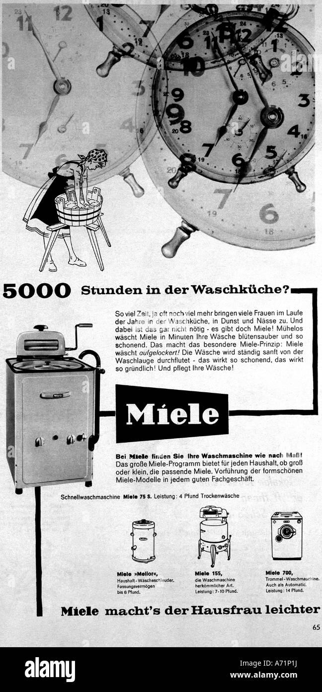 Werbung, Haushalt, Haushalt Gerät, Waschmaschine von Miele, 1957 ...
