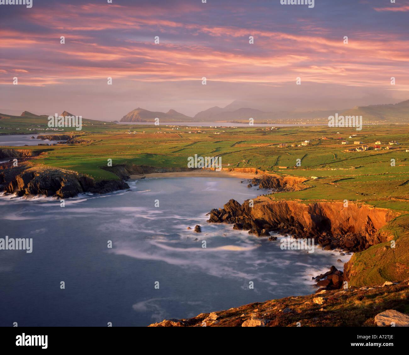 IE - CO. KERRY: Ballyferriter Bay auf Dingle Halbinsel von Clougher Head gesehen Stockbild