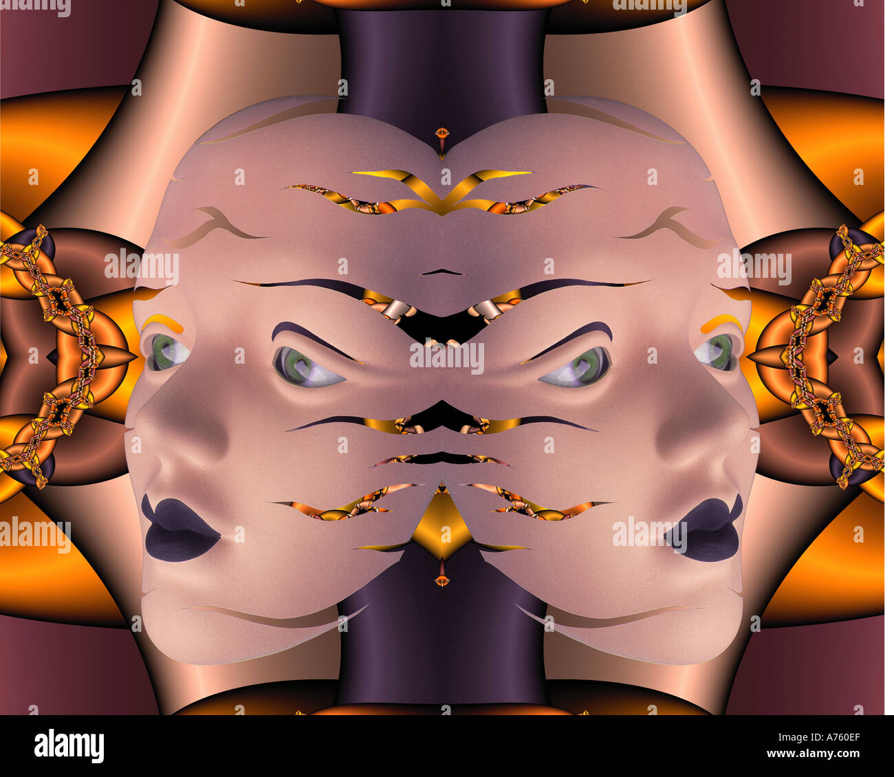 Maske und Augen, gespiegelt Stockbild