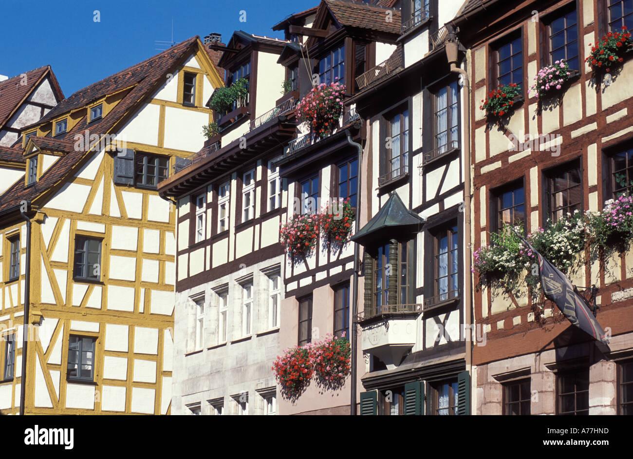 Rahmen-Häuser an der Weißgerbergasse Straße Nürnberg Franken Bayern ...