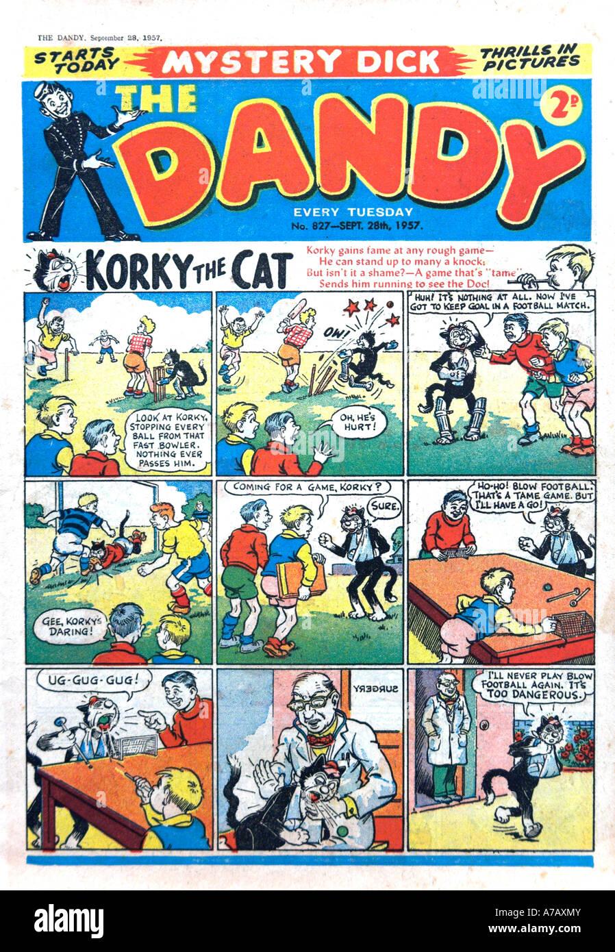 NUR zur redaktionellen Verwendung Dandy Comic-1957 Stockbild