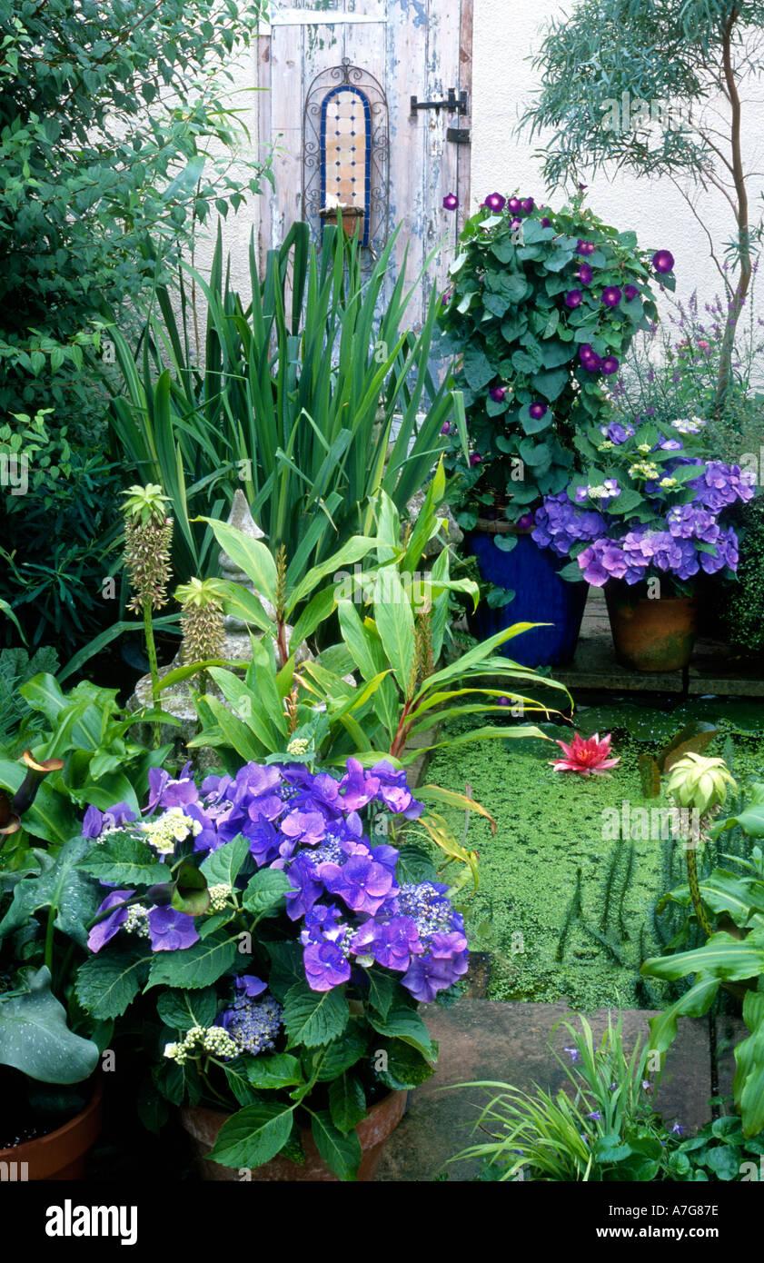 Gartenteich auf Terrasse Stockfoto, Bild: 2181245 - Alamy