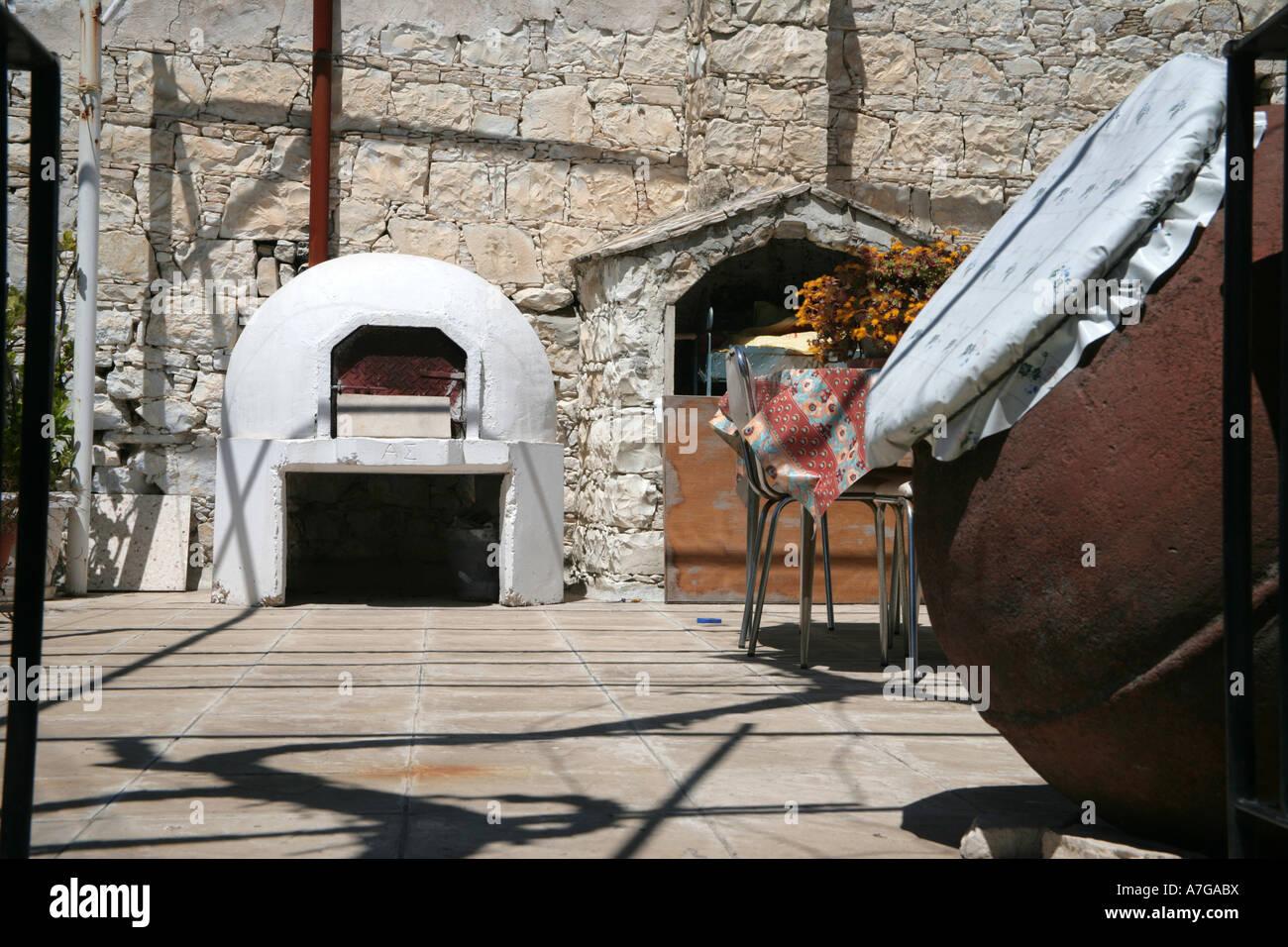 Ofen Auf Terrasse Dorf Haus Sonntag Troodos Gebirge Zyperns