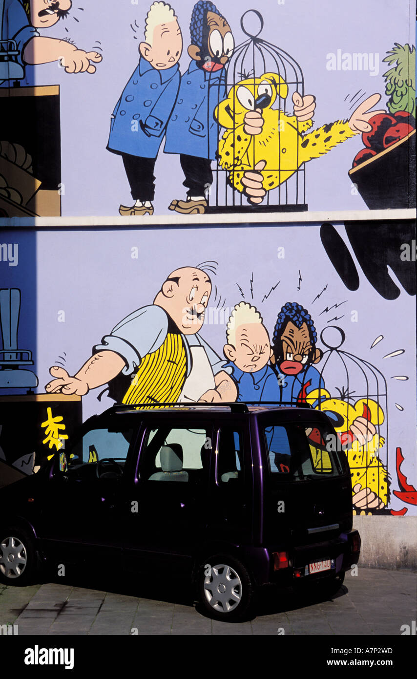 Belgien, Brüssel, Comic-Strip auf eine Wand gemalt Stockbild