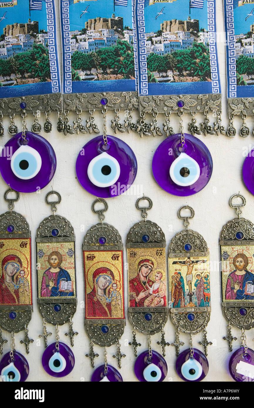 Souvenirs und böse Augen, Kloster des Hl. Johannes der Theologe, Hora, Patmos, Griechenland Stockbild