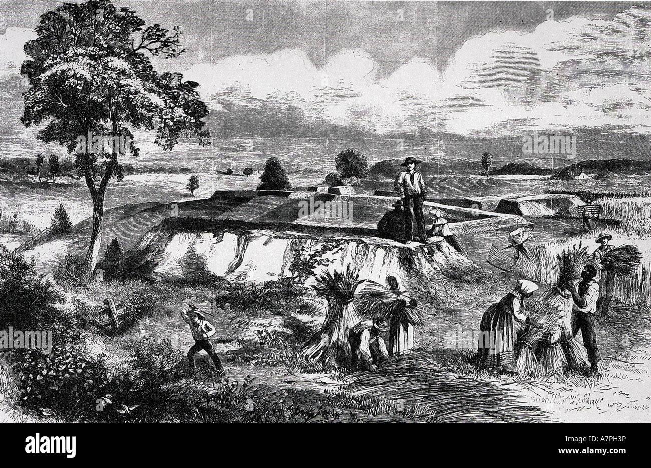 Wiederaufbau veröffentlicht ein optimistischer Ausblick im Jahre 1867 von Entwicklungen in den amerikanischen Stockbild