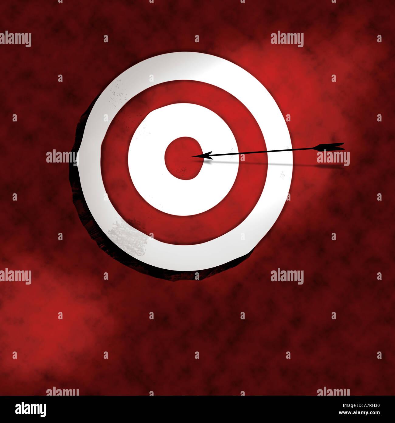 Bullseye mit Pfeil-Darstellung Stockfoto