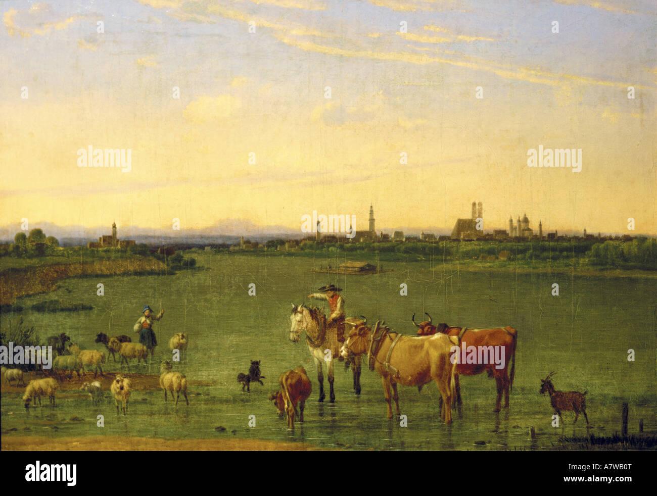 Bildende Kunst, Kobell, Wilhelm von (1766 - 1853), 'München' von Nordosten, Malerei, 1815, Öl Stockbild