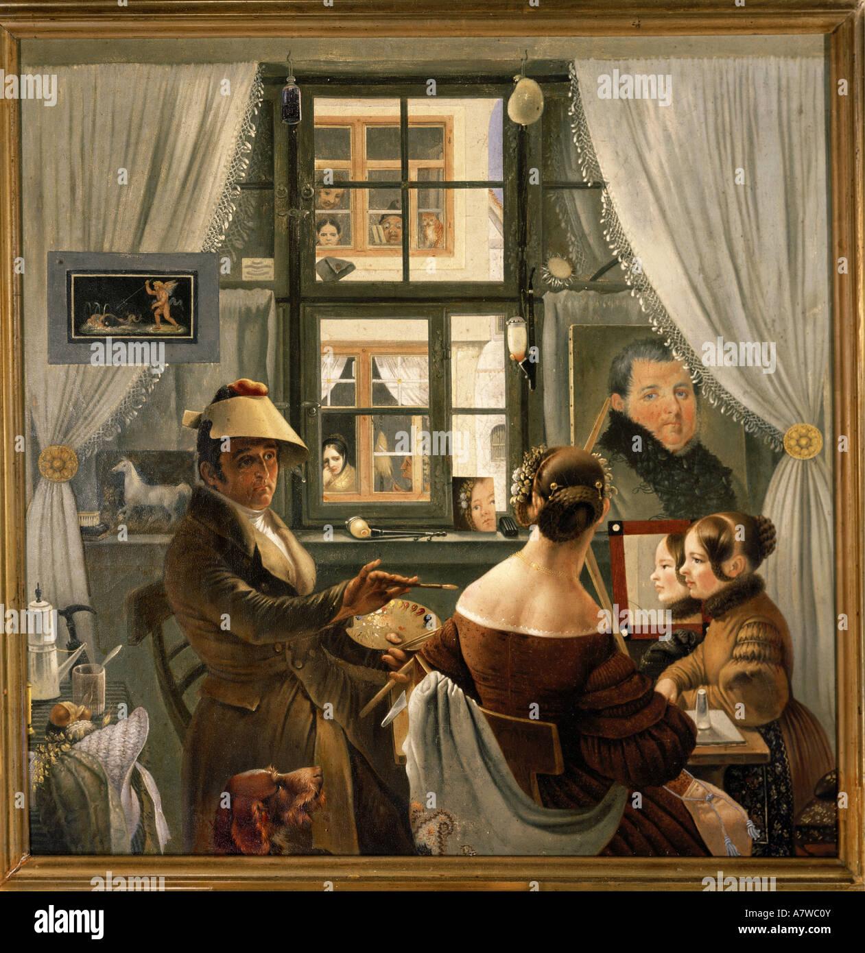 """Bildende Kunst, Göser, Karl Friedrich, (1803 - 1858), der Malerei, der elbstbildnis im Atelier"""", (elfportrait Stockbild"""