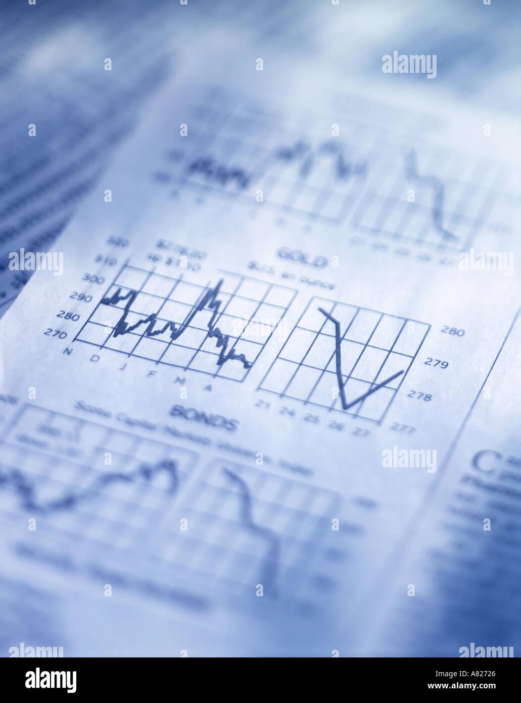 Zeitungsseite mit Gold und Anleihen-charts Stockbild
