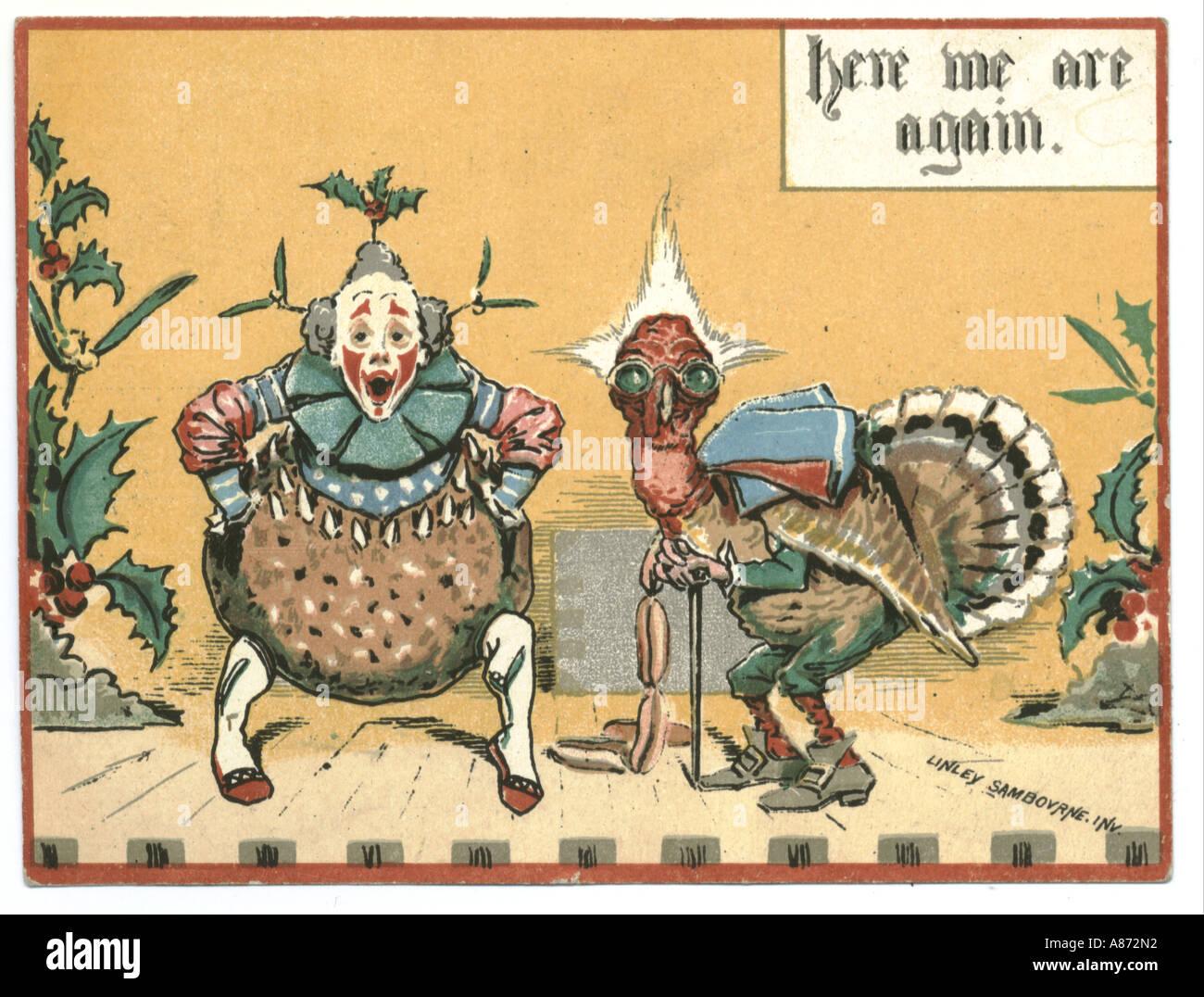 Weihnachtsgrußkarte um 1890 von Linley Sambournes Stockbild