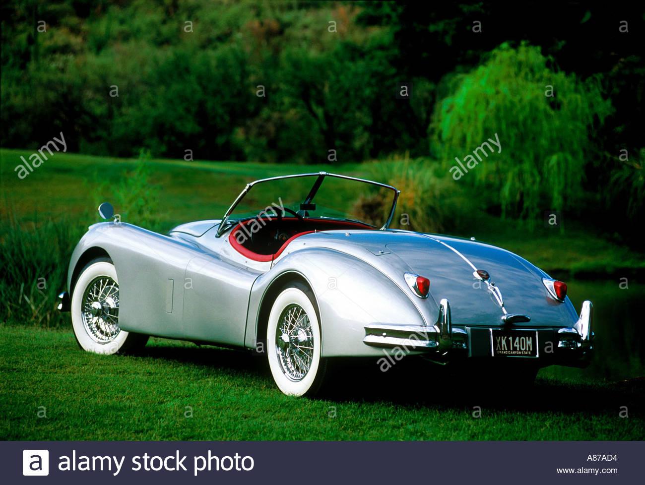 Silber Jaguar XK 140 Roadster 1954 Oldtimer auf dem grünen Rasen Stockbild