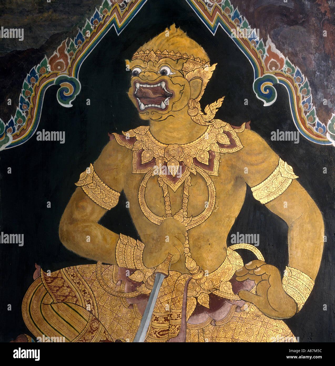 Detail der Wandgemälde im Hor Phra Naga, großer Palast, Bangkok, Thailand Stockbild