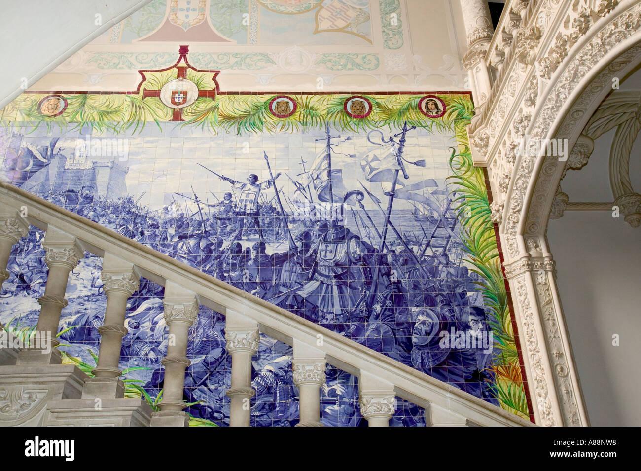 portugiesische fliesen fresken im palace hotel bussaco wald luso portugal gebaut wie ein. Black Bedroom Furniture Sets. Home Design Ideas