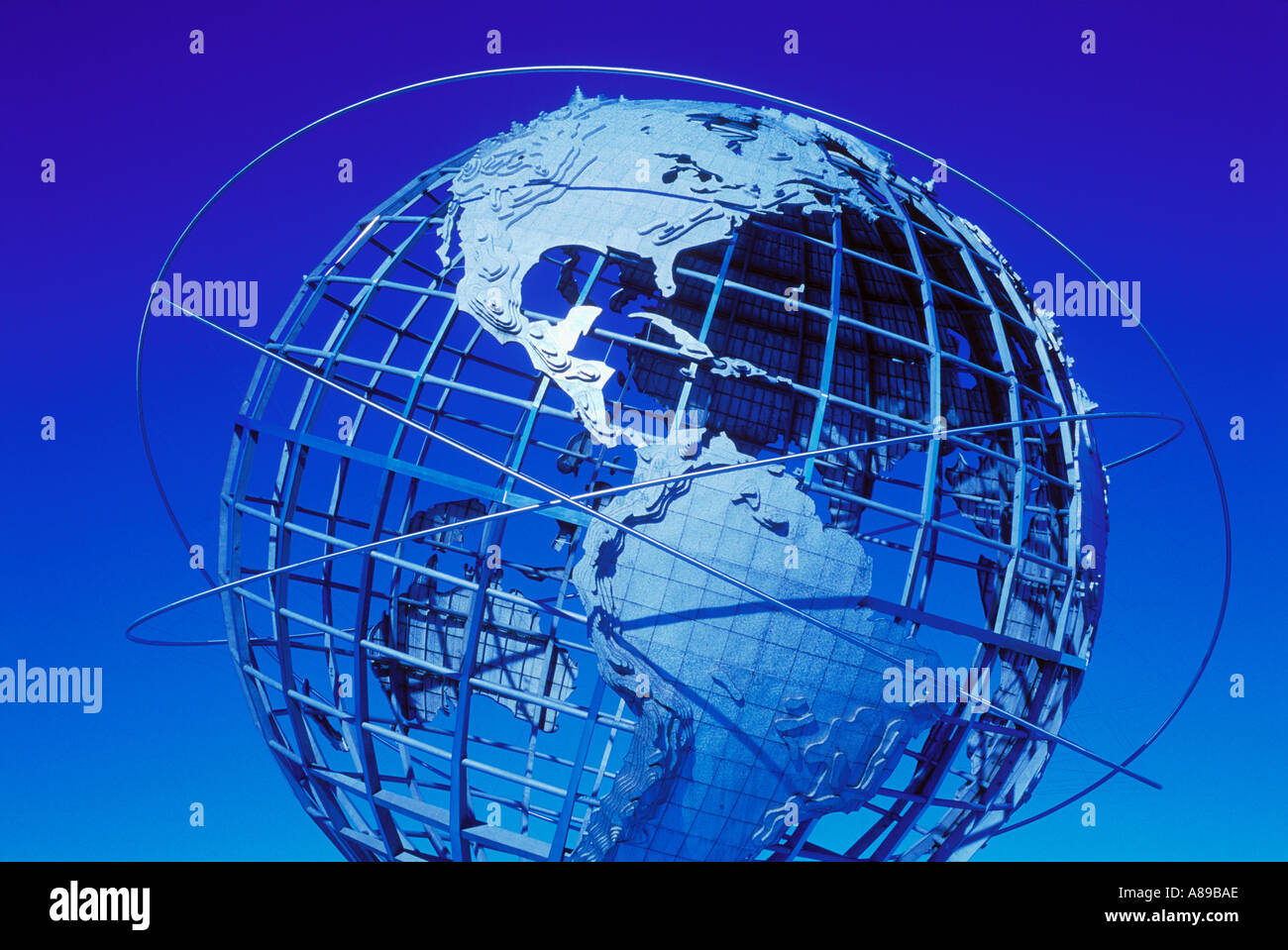 USA New York New York City Flushing Meadows Corona State Park Unisphere Kugel Stockbild