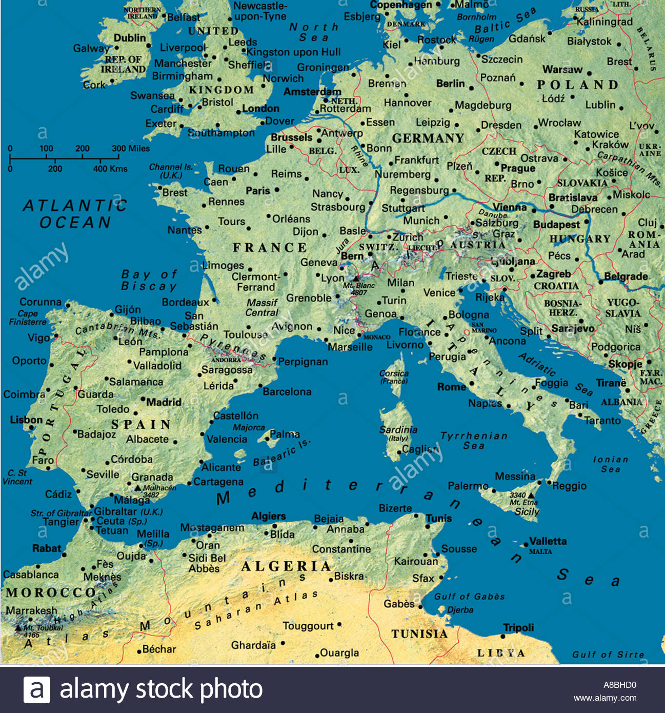 Karte Karten Europa Algerien Tunesien Nordafrika Spanien Portugal