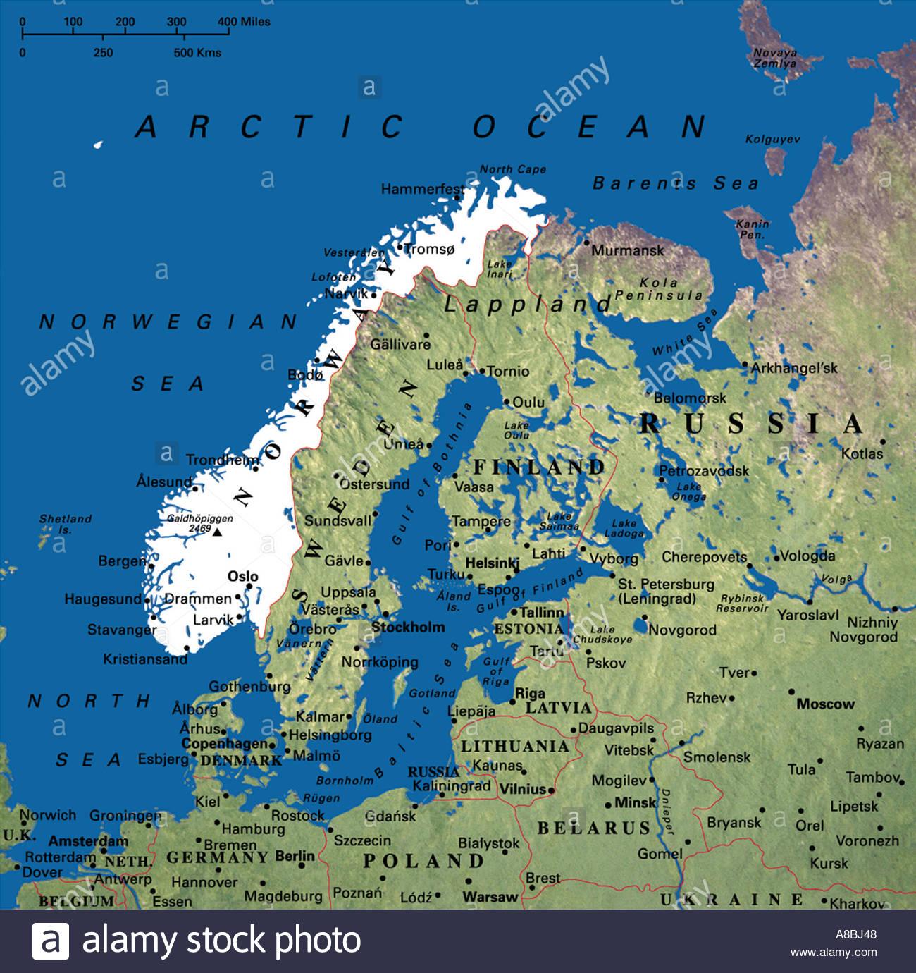 Karte Karten Skandinavien Danemark Norwegen Schweden Finnland