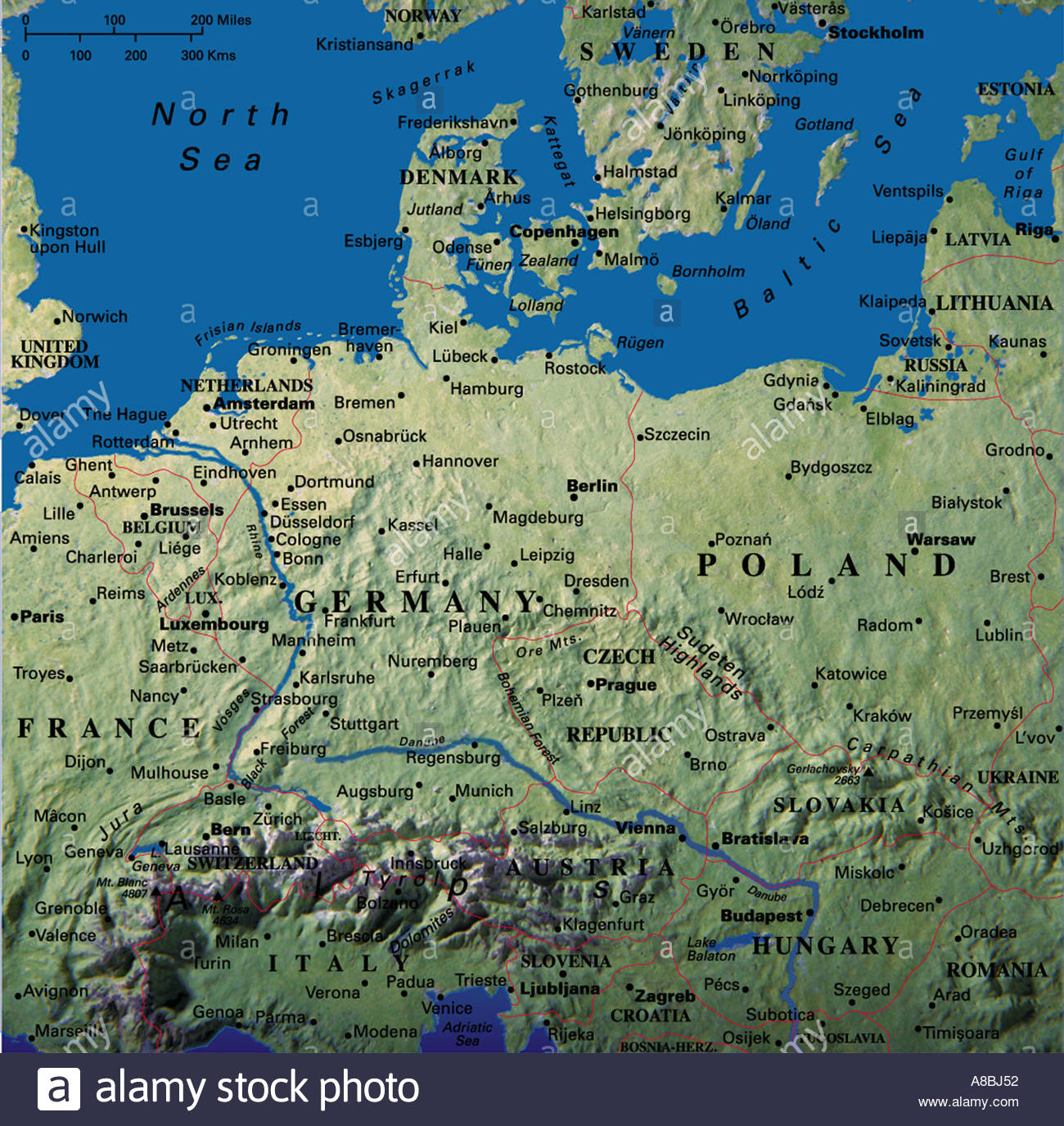 Karte Karten Europa Deutschland Danemark Osterreich Polen Belarus