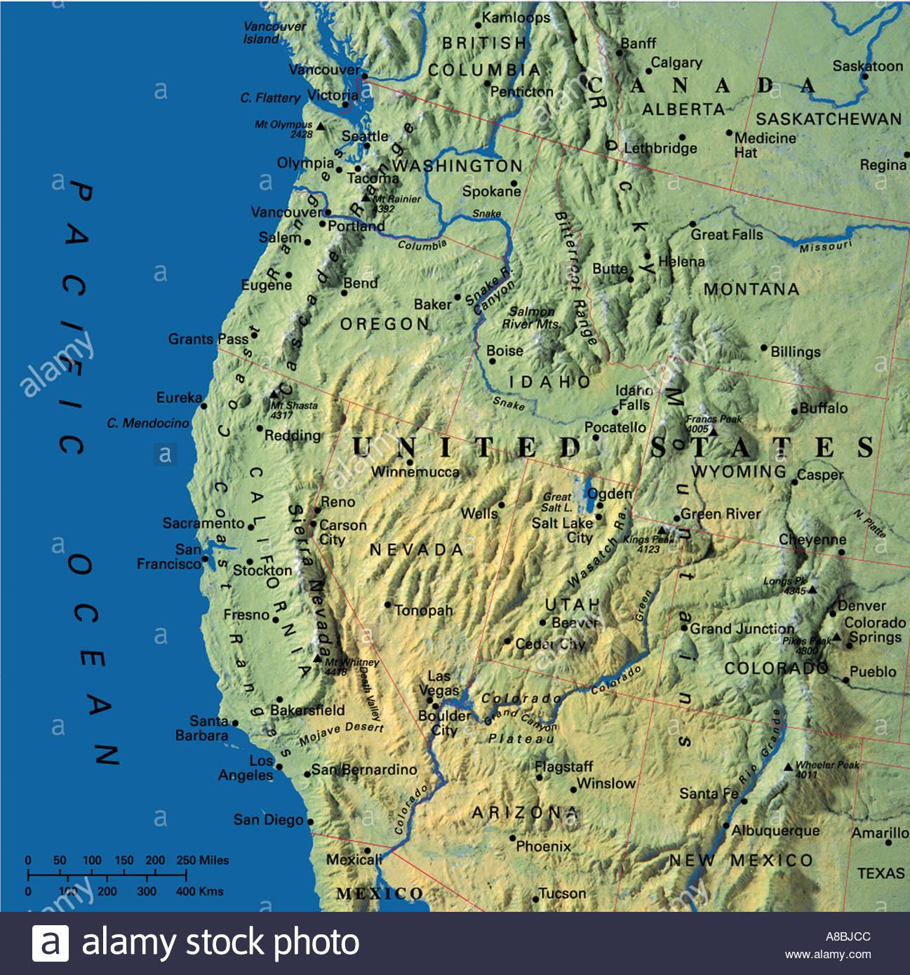Karte Karten USA Kalifornien Oregon Washington State Stockfoto, Bild ...